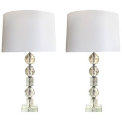 Shimmering and Large-Scaled Pair of French Stacked Faceted Crystal Lamps