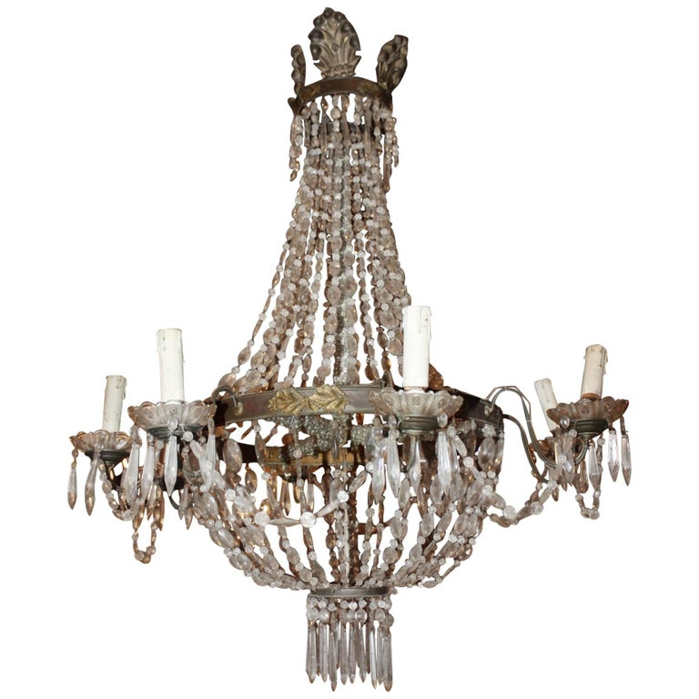 19th Century Crystal Empire Chandelier 1