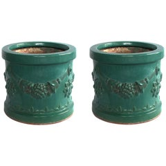 Robust Pair of Malaysian Teal-Glazed Terracotta Planters