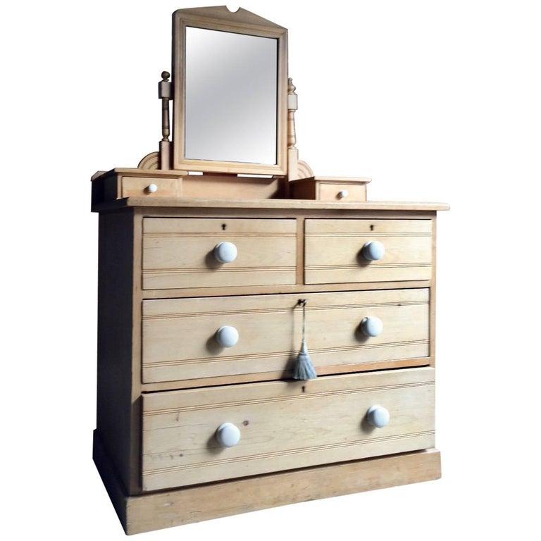 Antique Pine Chest Of Drawers Dresser 19th Century Victorian Mirror