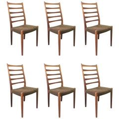 Set of Six High Ladder Back Rosewood Dining Chairs by Svegards Markaryd