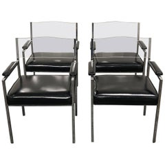 Milo Baughman Set of Four Lucite Back Chairs