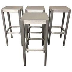 Set of Four Philippe Starck Emeco Brushed Aluminum Barstools