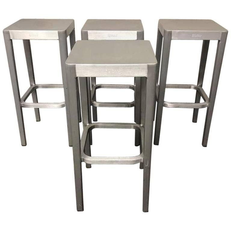 Set Of Four Philippe Starck Emeco Brushed Aluminum