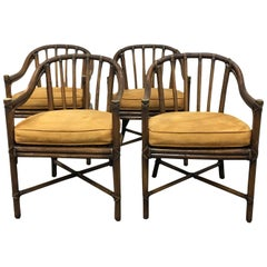 Set of Four McGuire Bamboo Barrel Chairs