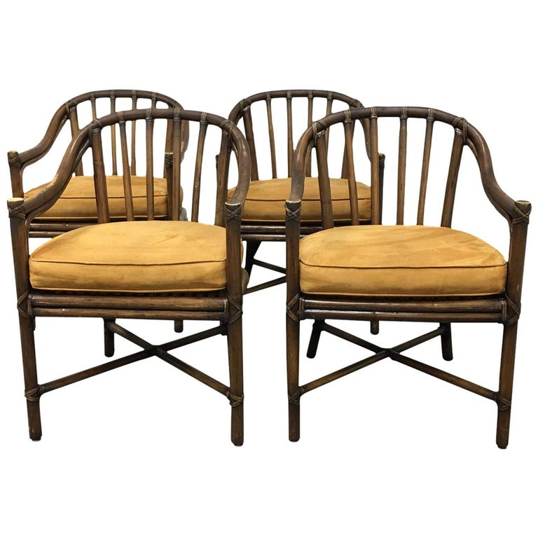 Set Of Four Mcguire Bamboo Barrel Chairs At 1stdibs