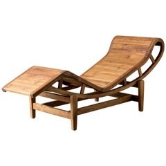 21st Century Lounger in Teak Wood, after Le Corbusier, LC4