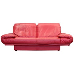 Rolf Benz Designer Leather Sofa Two-Seat Couch, Red Leather, Modern