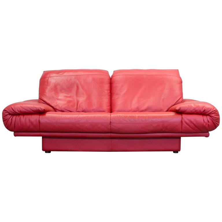 Rolf benz designer leather sofa two seat couch red for Benz couch