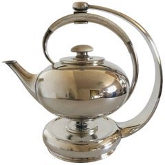 F Hingelberg Sterling Silver Teapot with Bone Handle and Matching Heating Stand