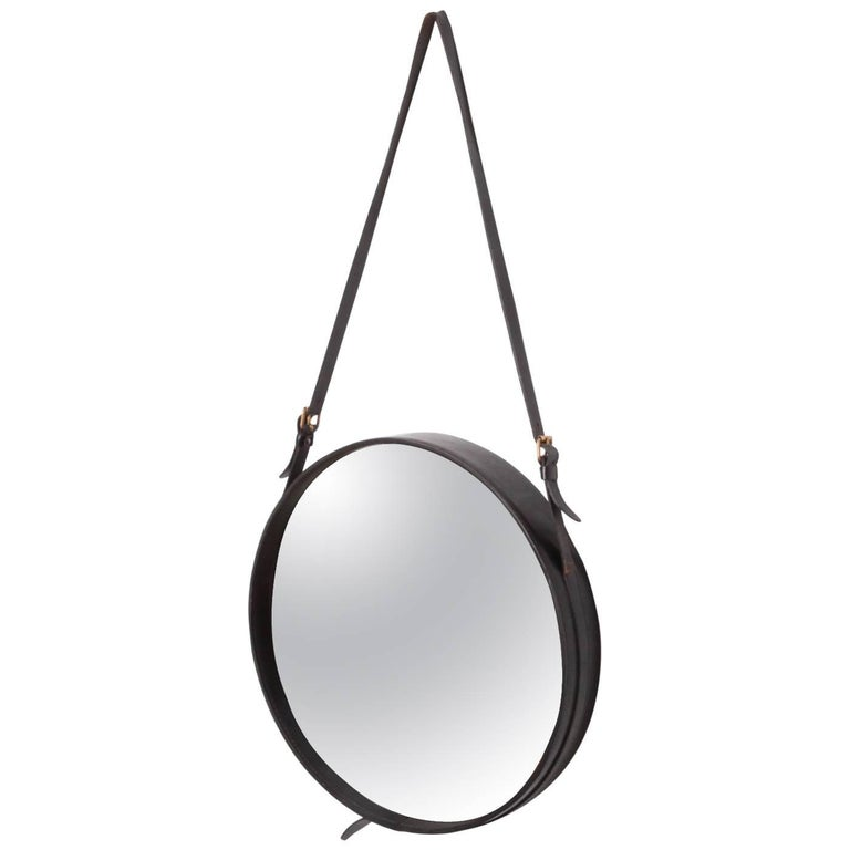 Mirror in Black Leather by Jacques Adnet, France, 1950