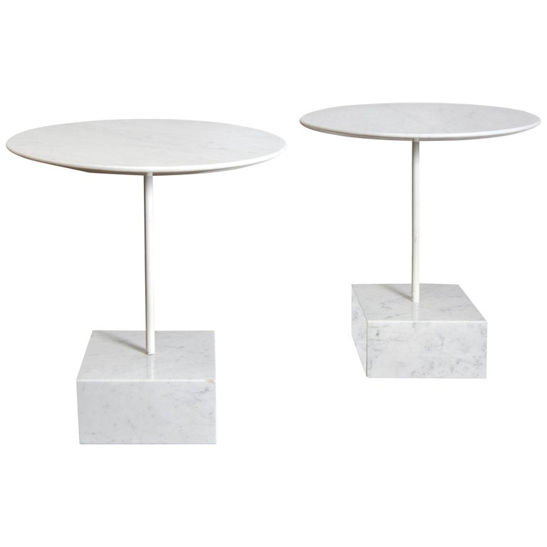 "Pair of ""Primavera"" Marble Gueridons by Ettore Sottsass For Sale"