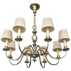 Elegant Large Empire Style Classical Silver Chandelier Eight-Light Pendant, 1920