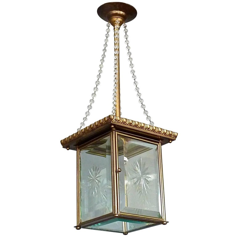 Signed Austrian Secession Lamp Art Nouveau Lantern Brass Beveled Glass Pearls For Sale