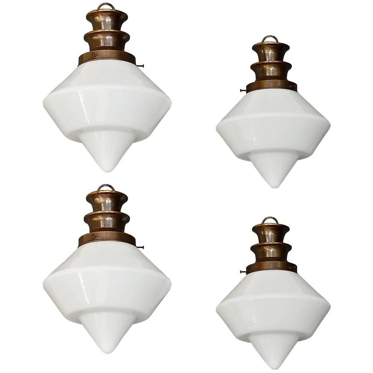 Rare Set of Four Art Deco Bauhaus Lights White Glass Flush Mounts Pendants, 1930
