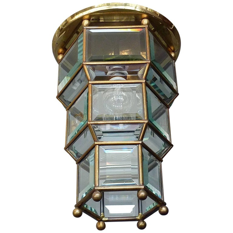 Great Adolf Loos Lobmeyr Style Light Beveled Glass Patinated Brass Vienna, 1910