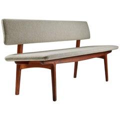 Bench with Backrest Designed by Ejnar Larsen & Axel Bender Madsen, Denmark, 1957