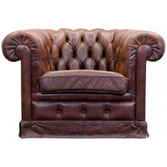Original Chesterfield Leather Armchair in Brown Vintage Retro