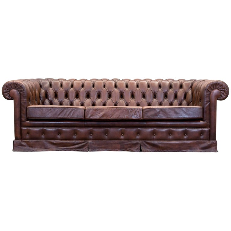 original chesterfield leather sofa two seat couch brown vintage retro at 1stdibs. Black Bedroom Furniture Sets. Home Design Ideas