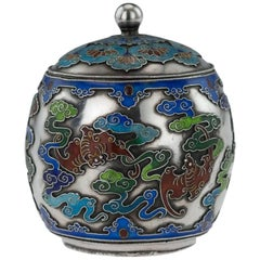 Antique 19th Century Rare Chinese Export Solid Silver and Enamel Pot with Cover
