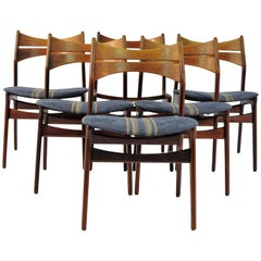 1950s Set of Six Erik Buch Model 310 Dining Chairs in Teak and Fabric