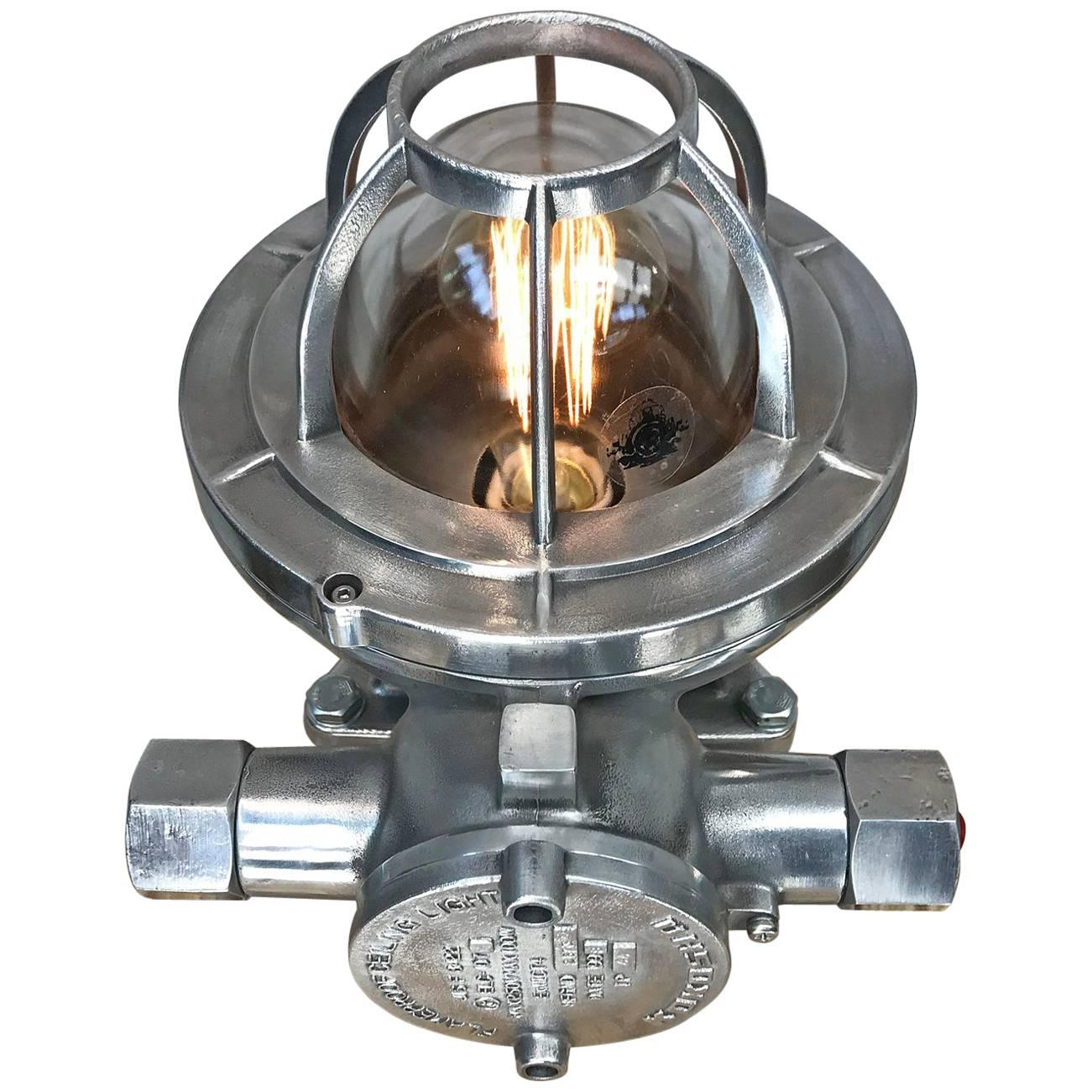 Late Century Japanese Cast Aluminium Industrial Flameproof Table Lamp, Edison