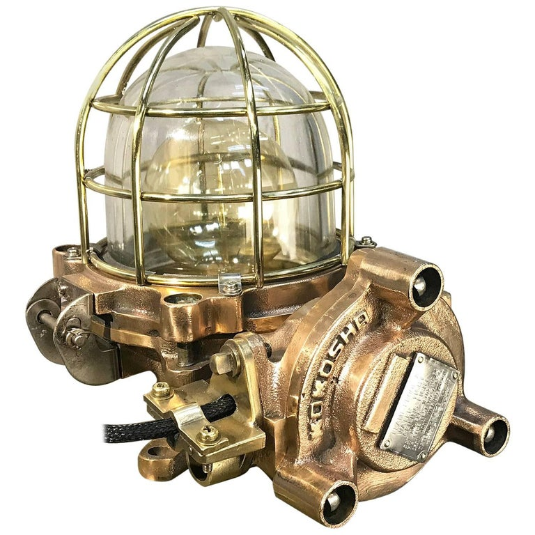 Late Century Japanese Cast Bronze Industrial Flameproof Table Lamp, Brass Cage For Sale