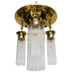 Art Deco Ceiling Lamp with Glass Sticks and Blue Stones
