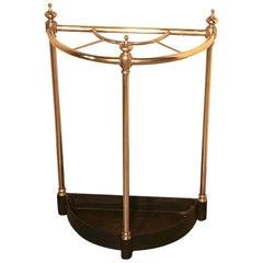 Victorian Half Round Brass and Iron Stick Stand or Umbrella Stand