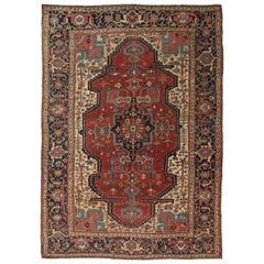 Antique Bakhshaish Carpet, Persian Handmade Rug, Rust, Navy, Ivory, Light Blue