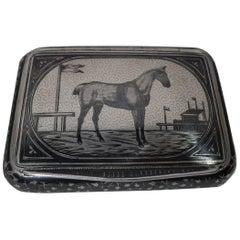 Antique Austrian Silver and Niello Snuffbox with Racehorse