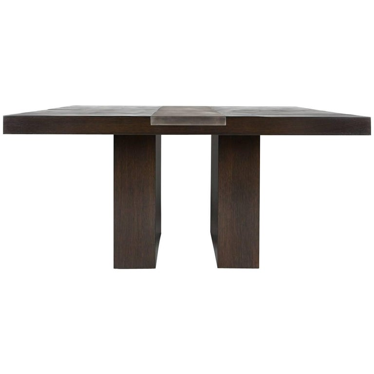 Valentine Dining Table Contemporary Split Bamboo and Steel by Aguirre Design