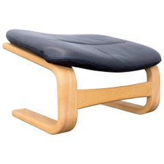 Skippers Furniture Apollo Leather Cantilever Footstool Black Wood
