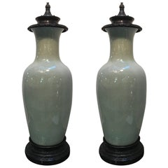 Large Pair of Chinese Celedon Porcelain Vases