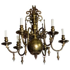 Antique Bronze Flemish Chandelier with Drops from Belgium, circa 1910