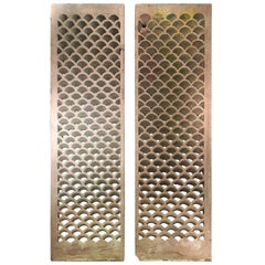 Pair of Antique Indian Carved Sandstone Jali Window Screens, Madhya Pradesh