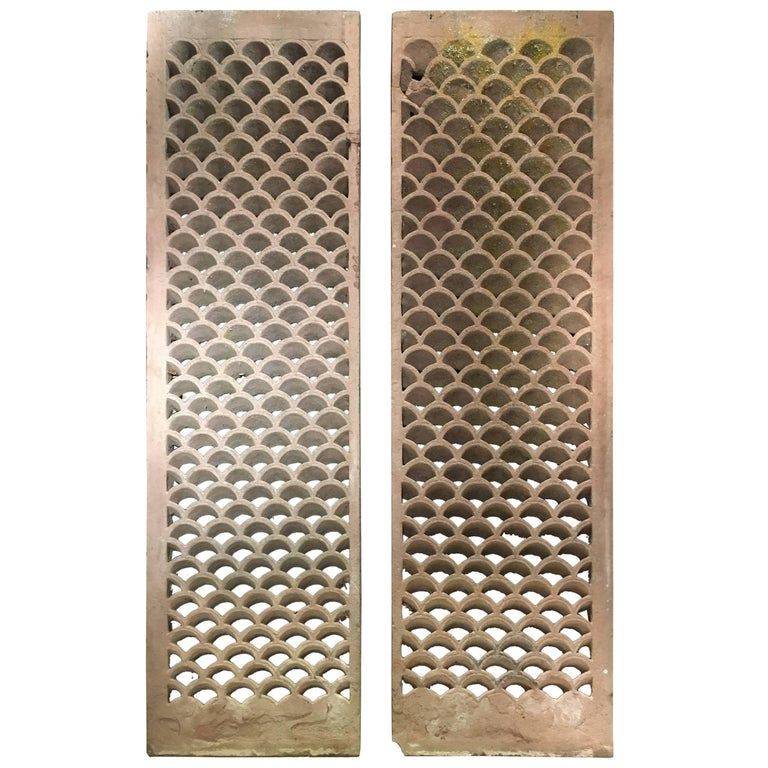 Pair of Antique Indian Carved Sandstone Jali Window Screens, Madhya Pradesh For Sale