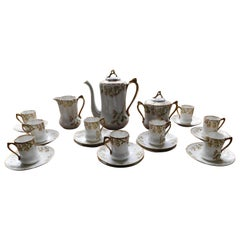 Early 19th Century Limoges Porcelain French Coffee Set Hand-Painted