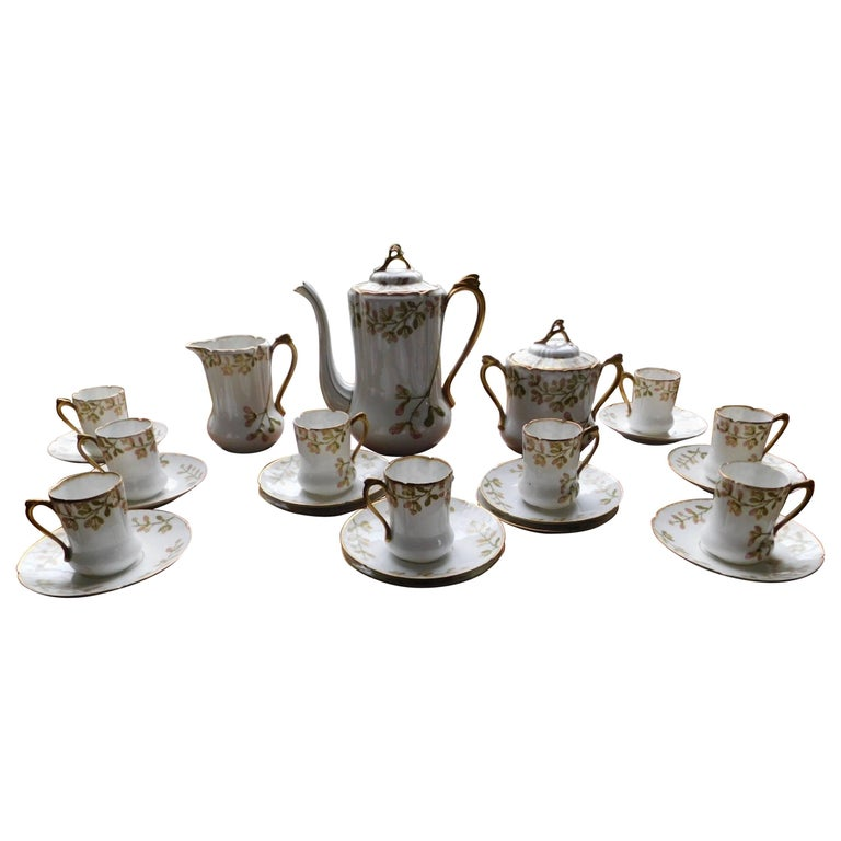 Early 19th Century Limoges Porcelain French Coffee Set Hand-Painted For Sale