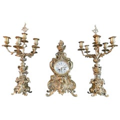19th Century, French Brass Garniture Clock Set with Candelabras