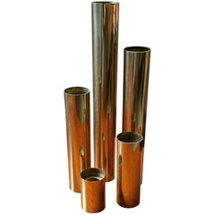 Set of Five 1970s Glam Tubular Brass Candleholders, Restored