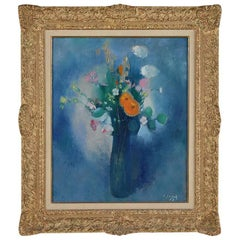 1950s French Impressionist Oil Painting of Flowers