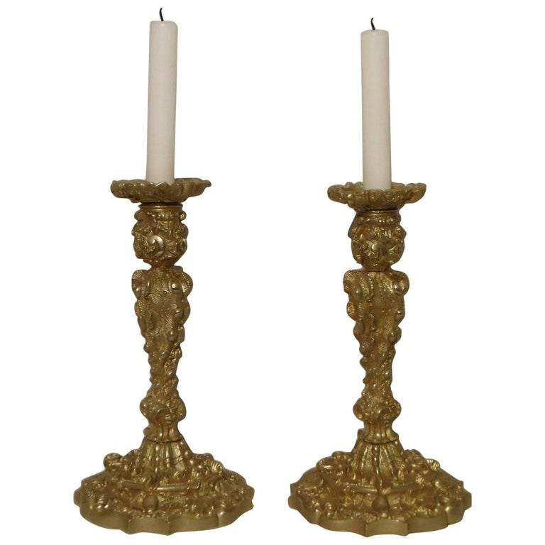 Pair of French 19th Century Bronze Gilt Rococo Style Candlesticks