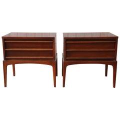 Pair of Lane Rhythm Mid-Century Modern Sculpted Walnut Nightstands