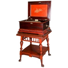 Antique Stella Double Comb Music Box with Mahogany Case and Stand, 19th Century