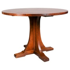 Stickley Arts & Crafts Mission Oak Dining Round Table, 21st Century