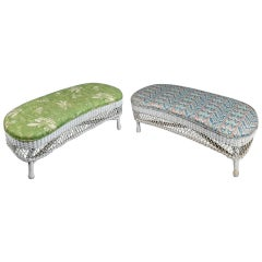 Pair of Heywood Wakefield School Wicker Kidney Shaped Upholstered Benches
