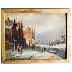 Antique Miniature Dutch Oil on Board Village Winter Scene, Signed Kiyon