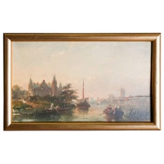 Antique Miniature Dutch Oil on Board Harbor Scene with Ships and Town