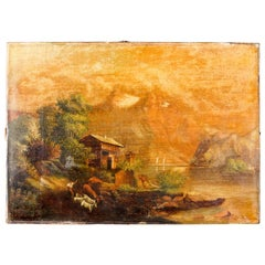 Antique Oil on Canvas Landscape Painting of Mountain Lake House by Effie Andrews